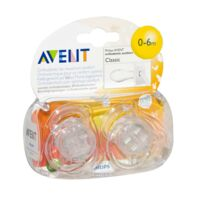 AVENT Sucette silicone 0-6mois transparente B/2